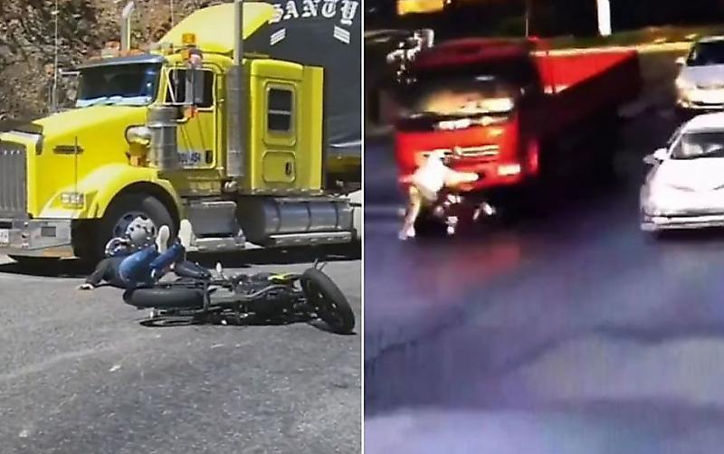 نجات معجزه آسای موتورسواران خوش شانس