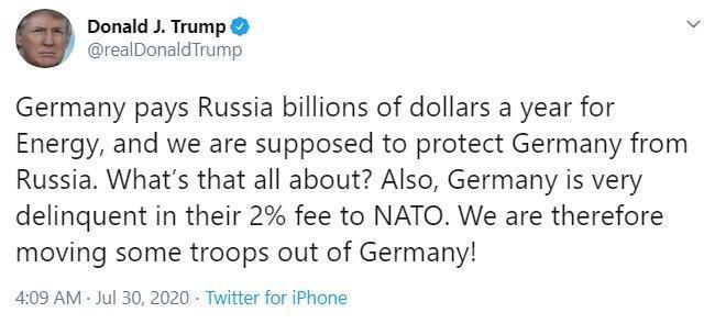 ترامپ: نیروهایمان را از آلمان به خاطر اینکه به روسیه پول می دهد خارج می کنیم